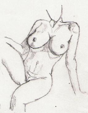Breasts-Seated nude leaning back
