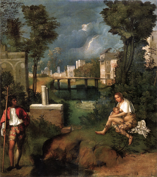 Giorgione-The Tempest, some times referred to as the first landscape in the history of Western painting.