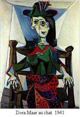 Dora Maar Au Chat. The painting depicts his mistress Dora Maar seated in a chair with a small cat perched behind her shoulder