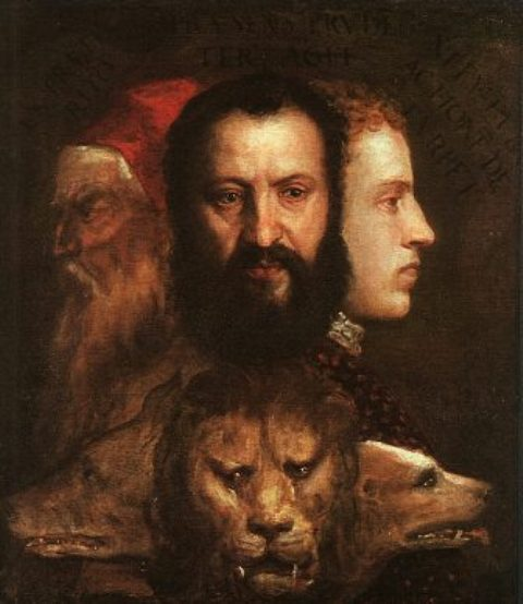 Titian: 1485-1586: Allegory of Age Governed by Prudence(c 1565–1570) is thought to depict Titian, his son Orazio, and a young cousin, Marco Vecellio.