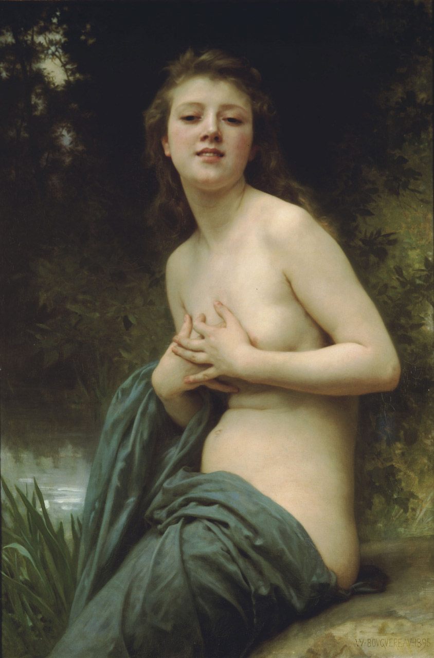 Spring Breeze-La brise du printemps-partial nude.Naked young girl at the edge of a pool. (c1895)