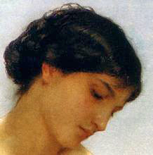 Facial detail from the Bather. William Bouguereau c1879.