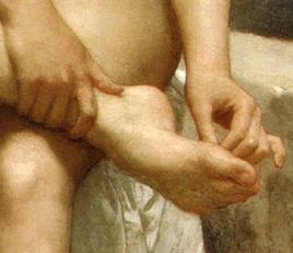 The Bather:close up hand and foot detail.