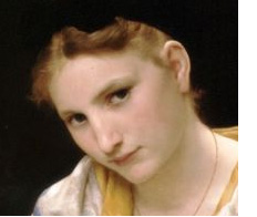 Jeune Ouvriere, Young Worker by William Bouguereau Facial close up