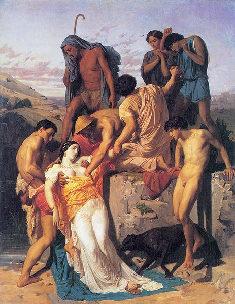 Zenobia. Zenobia found by shepherds on the banks of the Araxes. (1850)